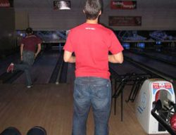 Jason Rudkin preparing to fire his ball towards the 25mph mark