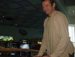 Richard Barker playing Air Hockey